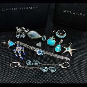 Jewelry - Mixed group of Silver earrings and pendants Blue